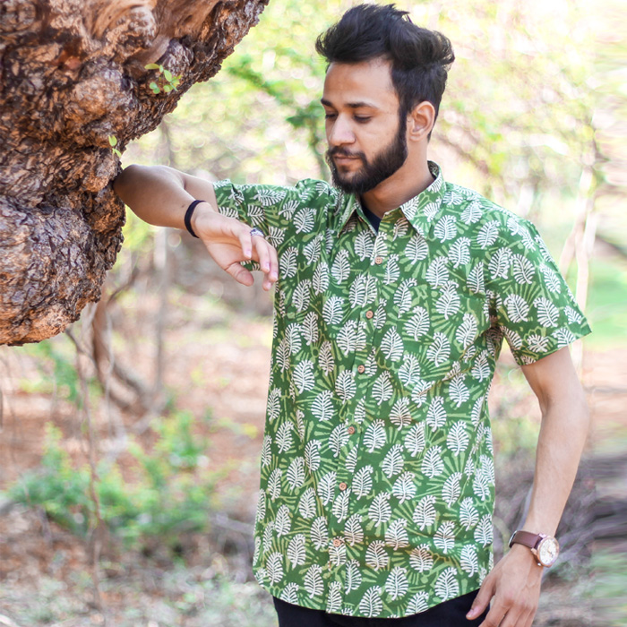 Hand Block Printing shirt with green background
